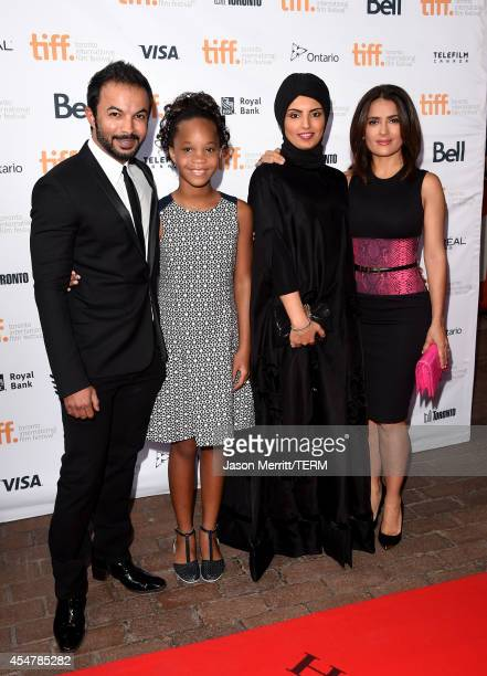 Mohammad Saeed actress Quvenzhané Wallis Fatima Alremaihi and actress Salma Hayek attend the Kahlil Gibran's The Prophet premiere during the 2014...