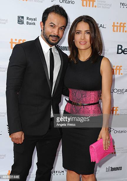 Mohammad Saeed and actress Salma Hayek attend the 'Kahlil Gibran's The Prophet' premiere during the 2014 Toronto International Film Festival at...