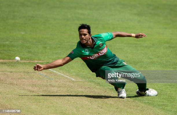 Mohammad Saifuddin of Bangladesh attempts a caught and bowled during the Group Stage match of the ICC Cricket World Cup 2019 between England and...