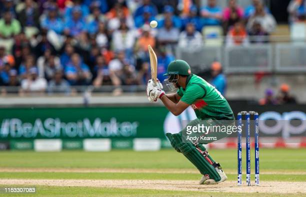 Mohammad Saifuddin of Bangladesh avoids a short delivery during the Group Stage match of the ICC Cricket World Cup 2019 between Bangladesh and India...