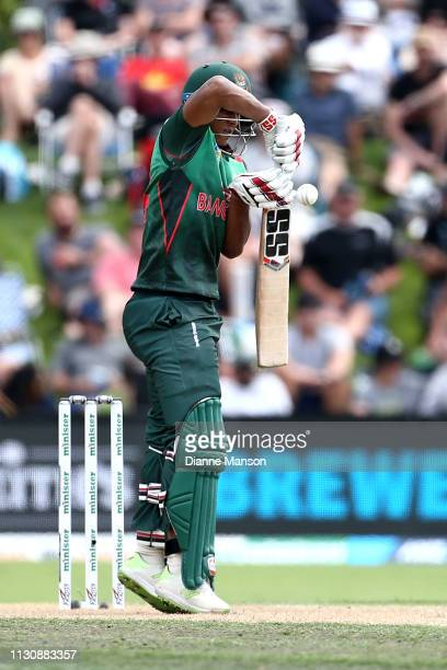 Mohammad Saifuddin of Bangladesh bats during Game 3 of the One Day International series between New Zealand and Bangladesh at University Oval on...