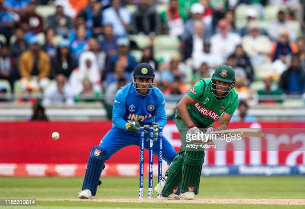 Mohammad Saifuddin of Bangladesh batting during the Group Stage match of the ICC Cricket World Cup 2019 between Bangladesh and India at Edgbaston on...