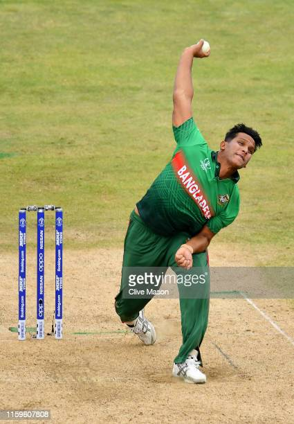 Mohammad Saifuddin of Bangladesh bowls during the Group Stage match of the ICC Cricket World Cup 2019 between Bangladesh and India at Edgbaston on...