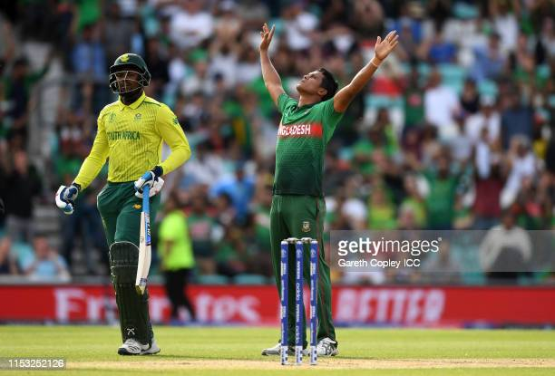 Mohammad Saifuddin of Bangladesh celebrates after taking the wicket of Andile Phehlukwayo of South Africa during the Group Stage match of the ICC...