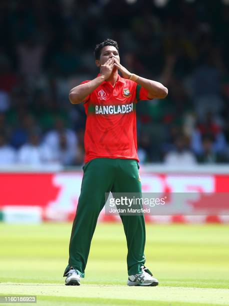 Mohammad Saifuddin of Bangladesh celebrates after taking the wicket of Fakhar Zaman of Pakistan during the Group Stage match of the ICC Cricket World...