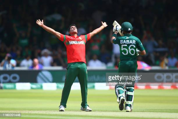 Mohammad Saifuddin of Bangladesh celebrates after taking the wicket of Babar Azam of Pakistan during the Group Stage match of the ICC Cricket World...
