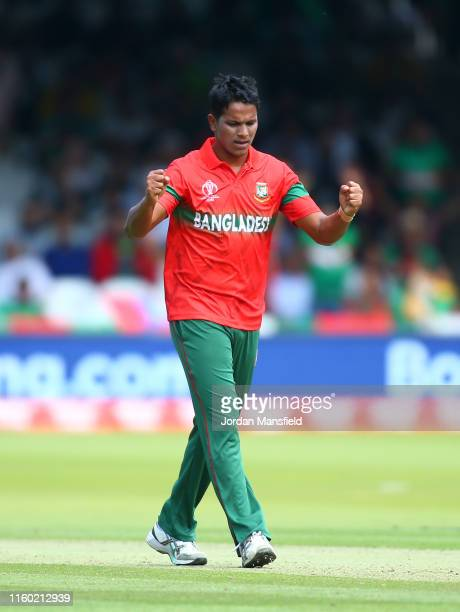 Mohammad Saifuddin of Bangladesh celebrates after taking the wicket of Wahab Riaz of Pakistan during the Group Stage match of the ICC Cricket World...