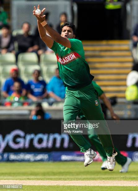 Mohammad Saifuddin of Bangladesh fields off of his own bowling during the Group Stage match of the ICC Cricket World Cup 2019 between Bangladesh and...