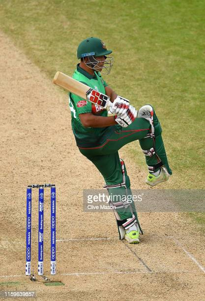 Mohammad Saifuddin of Bangladesh in action batting during the Group Stage match of the ICC Cricket World Cup 2019 between Bangladesh and India at...