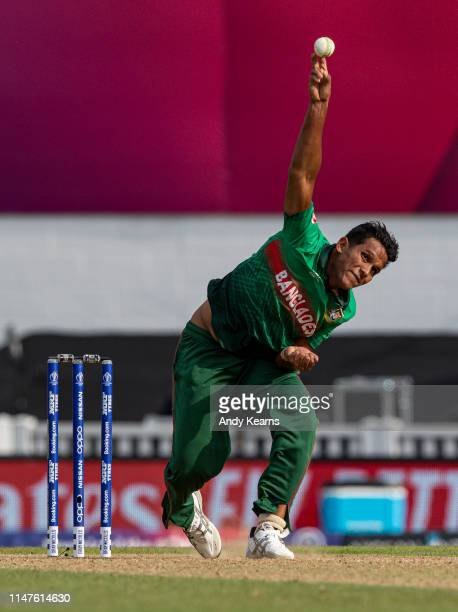 Mohammad Saifuddin of Bangladesh in delivery stride during the Group Stage match of the ICC Cricket World Cup 2019 between South Africa and...