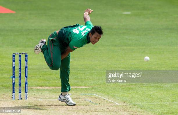 Mohammad Saifuddin of Bangladesh in delivery stride during the Group Stage match of the ICC Cricket World Cup 2019 between England and Bangladesh at...