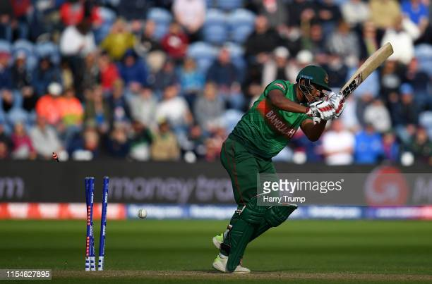 Mohammad Saifuddin of Bangladesh is bowled by Ben Stokes of England during the Group Stage match of the ICC Cricket World Cup 2019 between England...