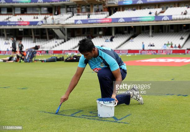 Mohammad Saifuddin of Bangladesh marks out his run up during the Group Stage match of the ICC Cricket World Cup 2019 between Bangladesh and New...