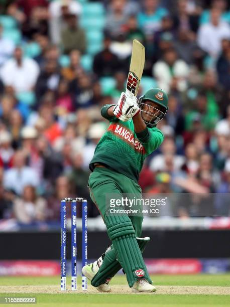 Mohammad Saifuddin of Bangladesh plays a shot during the Group Stage match of the ICC Cricket World Cup 2019 between Bangladesh and New Zealand at...