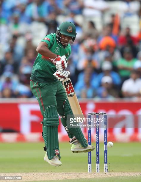 Mohammad Saifuddin of Bangladesh plays a shot during the Group Stage match of the ICC Cricket World Cup 2019 between Bangladesh and India at...