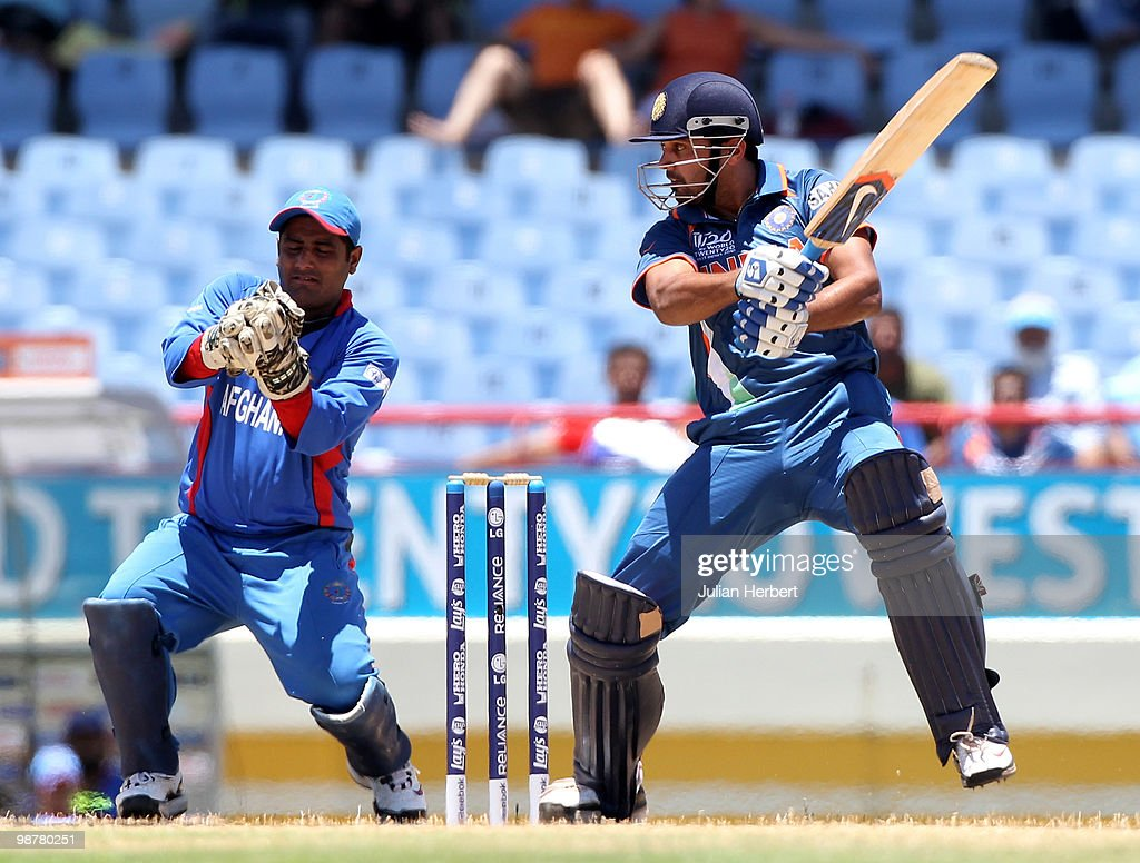 Mohammad Shahzad looks on as Murali Vijay of India scores runs during the ICC World Twenty20 Group A match between India and Afghanistan played at the Beausejour Cricket Ground on May 1, 2010 in Gros Islet, Saint Lucia.