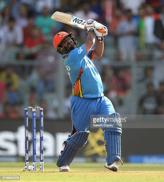 Mohammad Shahzad of Afghanistan bats during the ICC World Twenty20 India 2016 Super 10s Group 1 match between South Africa and Afghanistan at...