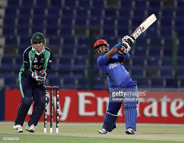 Mohammad Shahzad of Afghanistan batting during the ICC World Twenty20 Qualifier Final between Ireland and Afghanistan at the Zayed Cricket Stadium on...