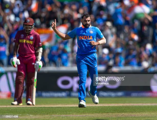 Mohammad Shami of India celebrates bowling Shai Hope of West Indies during the Group Stage match of the ICC Cricket World Cup 2019 between India and...