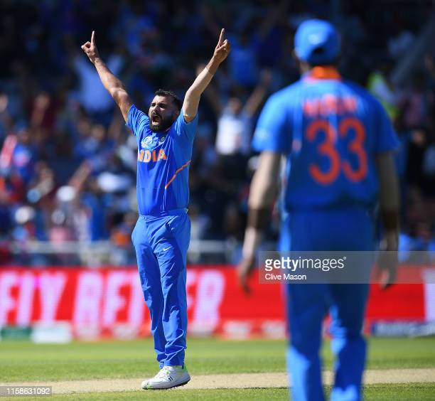 Mohammad Shami of India Celebrates dismissing Chris Gayle of West Indies during the Group Stage match of the ICC Cricket World Cup 2019 between West...