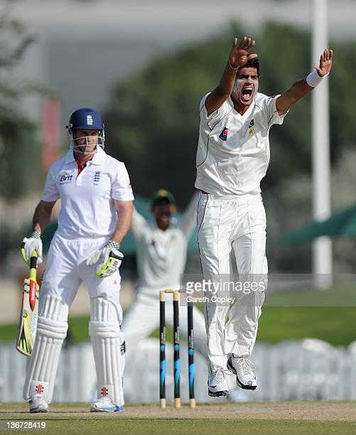 Mohammad Talha of Pakistan Cricket Board XI appeals for the wicket of England captain Andrew Strauss during the tour match between England and a...