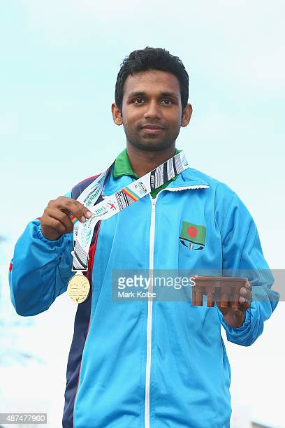 Mohammad Tamimul Islam of Bangladesh poses with his gold medal won in the recurve bow individual boys archery final at the Tuanaimato Sports Facility...