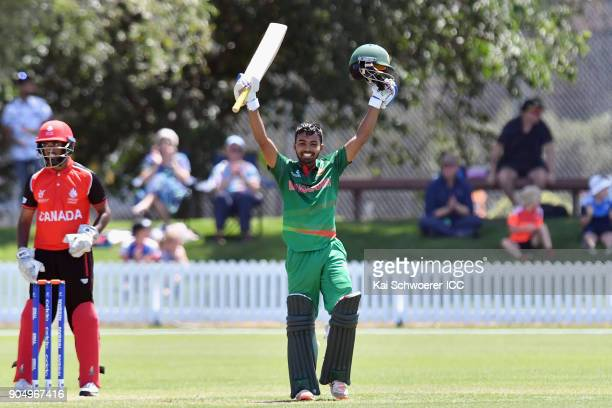 Mohammad Tawhid Hridoy of Bangladesh celebrates his century during the ICC U19 Cricket World Cup match between Bangladesh and Canada at Bert...