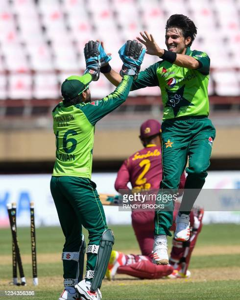 Mohammad Wasim of Pakistan celebrates the dismissal of Shimron Hetmyer of the West Indies during the 2nd T20I match between the West Indies and...