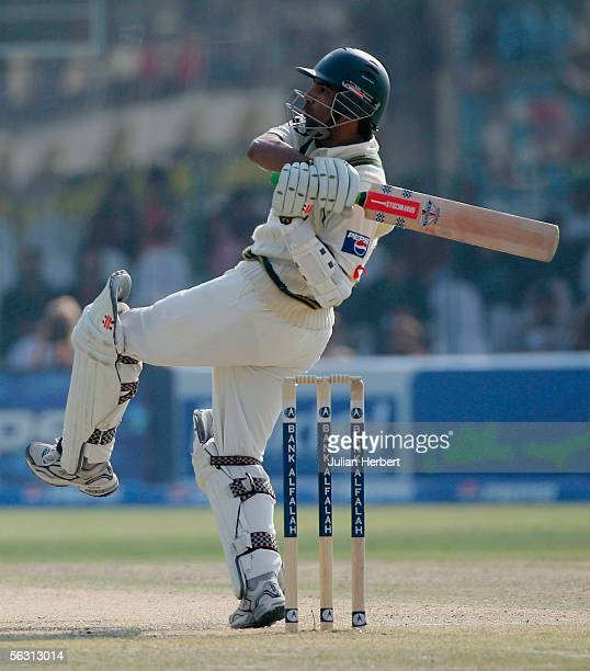 Mohammad Yousuf of Pakistan bats during the Third Day of the Third and Final Test Match between Pakistan and England at The Gaddaffi Stadium on...