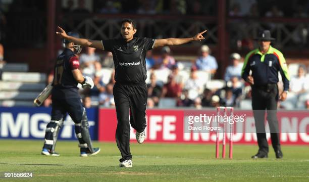 Mohammed Abbas of Leicestershire celebrates taking the wicket of Richard Levi during the Vitality Blast match between Northamptonshire Steelbacks and...