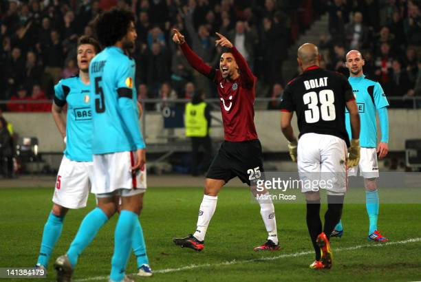 Mohammed Abdellaoue of Hannover celebrates his team's 2nd goal during the UEFA Europa League second leg round of 16 match between Hannover 96 and...