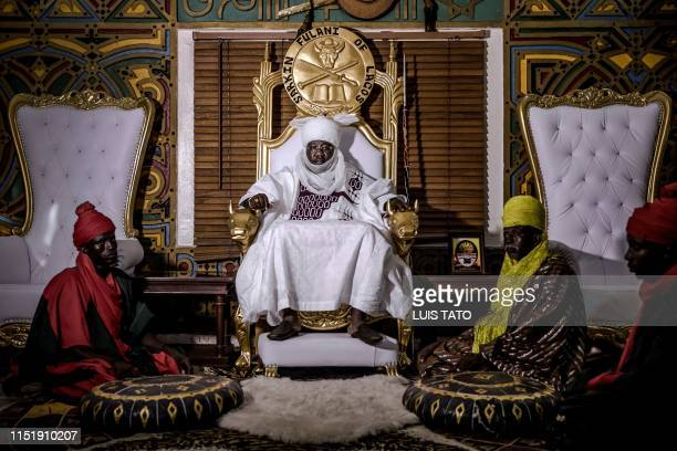 Mohammed Abubakar Bambado, the Sarkin Fulani of Lagos, poses for a portrait on his throne in his palace at the district of Surulere in Lagos,...