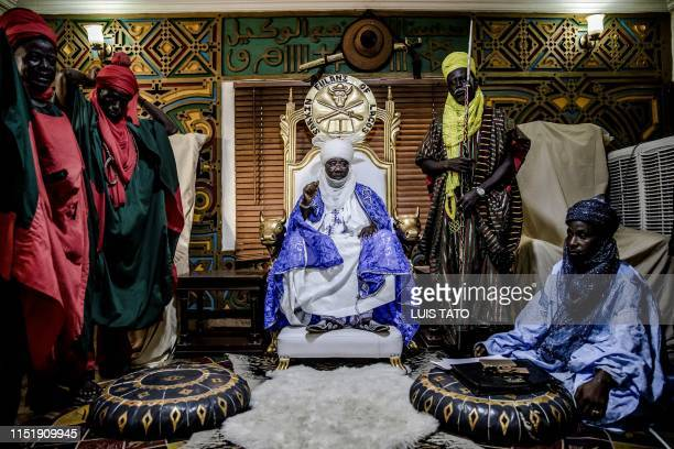 Mohammed Abubakar Bambado the Sarkin Fulani of Lagos sits on his throne while presiding over an assembly with Fulani people looking for his advice in...