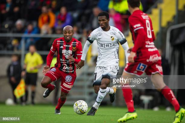 Mohammed Abubakari of BK Hacken and Fouad Bachirou of Ostersunds FK competes for the ball during the Allsvenskan match between Ostersunds FK and BK...