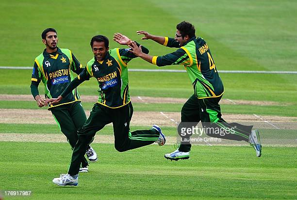 Mohammed Aftab of Pakistan celebrates the wicket of Jonathan Tattersall of England during the Triangular Under 19 Series Final between England U19...