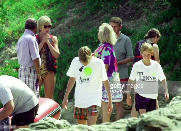 Mohammed Al Fayed and Diana Princess Of Wales are seen in St Tropez in the summer of 1997 shortly before Diana and Dodi were killed in a car crash in...