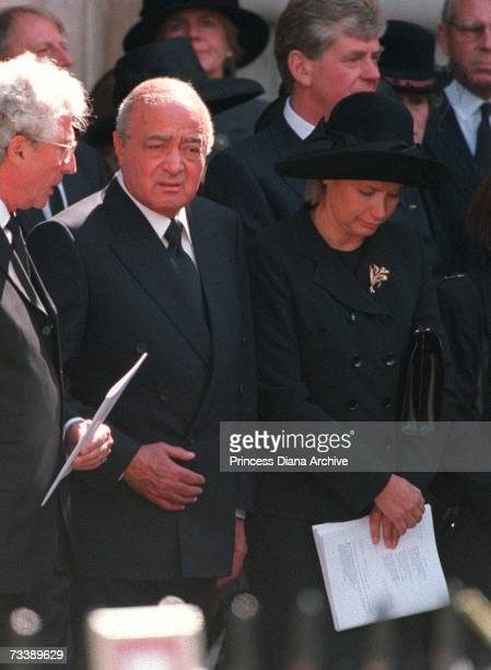 Mohammed Al Fayed and his wife Heini Wathen leaving Westminster Abbey after the funeral service for Diana Princess of Wales 6th September 1997 Al...
