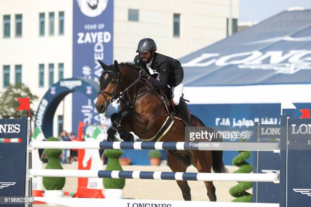 Mohammed Al Hajri of United Arab Emirates rides Pour le Poussage during The President of the UAE Show Jumping Cup at Al Forsan on February 17 2018 in...