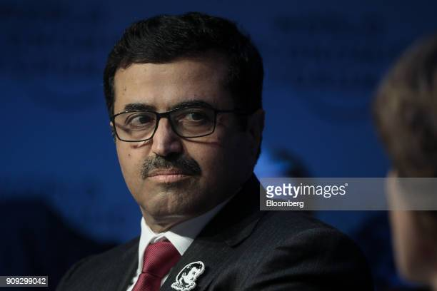Mohammed Al Sada Qatar's energy and industry minister looks on during a panel session on the opening day of the World Economic Forum in Davos...