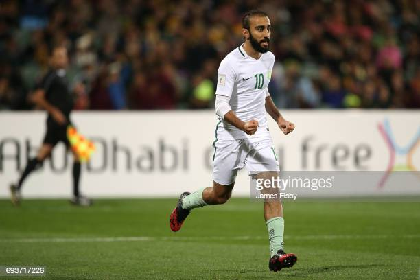 Mohammed Al Sahlawi of Saudi Arabia celebrates a goal during the 2018 FIFA World Cup Qualifier match between the Australian Socceroos and Saudi...