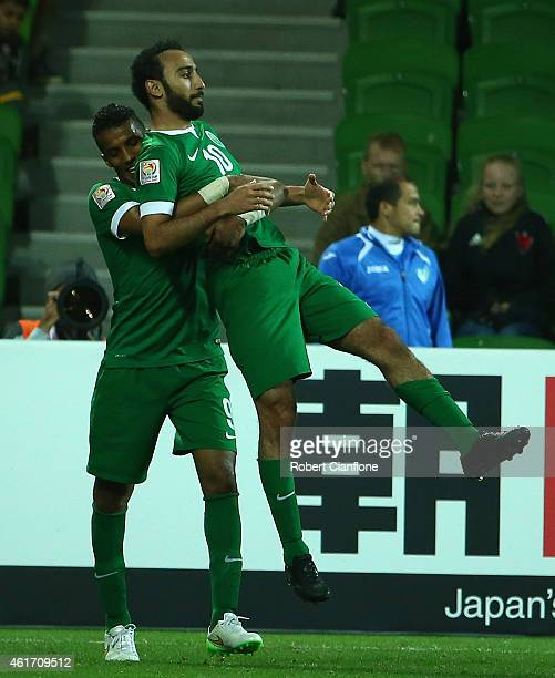 Mohammed Al Sahlawi of Saudi Arabia celebrates after scoring a goal during the 2015 Asian Cup match between Uzbekistan and Saudi Arabia at AAMI Park...