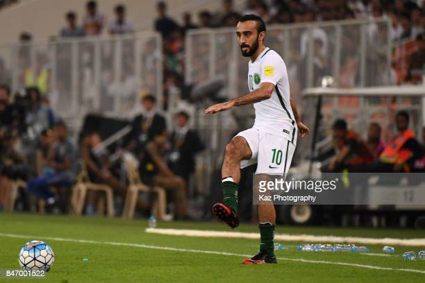 Mohammed Al Sahlawi of Saudi Arabia in action during the FIFA World Cup qualifier match between Saudi Arabia and Japan at the King Abdullah Sports...