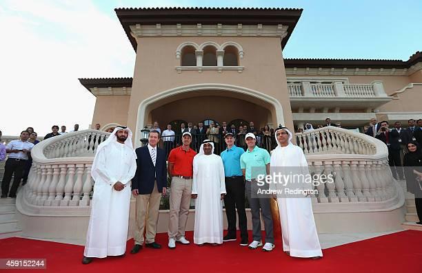 Mohammed Al Shibani George O'Grady Henrik Stenson of Sweden HH Sheikh Ahmed bin Saeed Al Maktoum Justin Rose of England Rory McIlroy of Northern...