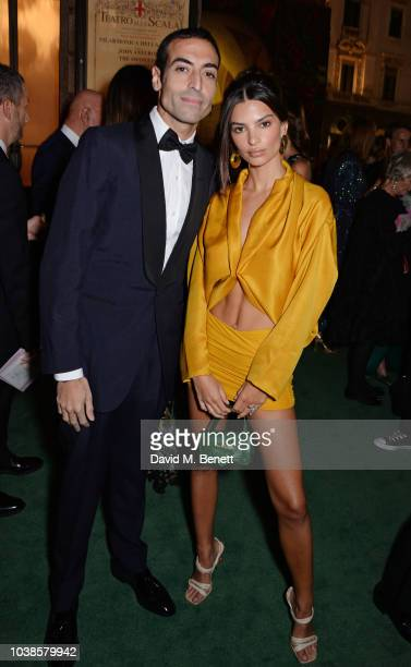 Mohammed Al Turki and Emily Ratajkowski, wearing Roberto Cavalli, attend The Green Carpet Fashion Awards Italia 2018 at Teatro Alla Scala on...