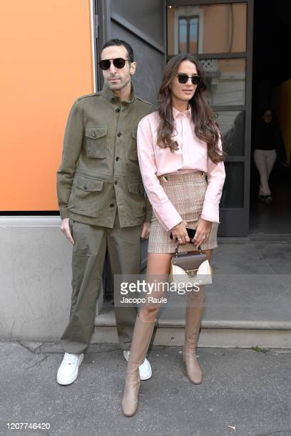 Mohammed Al Turki and Gabrielle Caunesil attends the Tod's show at Milan Fashion Week Autumn/Winter 2020/21 on February 21, 2020 in Milan, Italy.