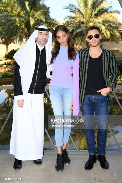 Mohammed Al Turki Joan Smalls and Ed Westwick attends the MDL Beast Festival Lunch at the historical city of Diriyah on December 21 2019 in Riyadh...