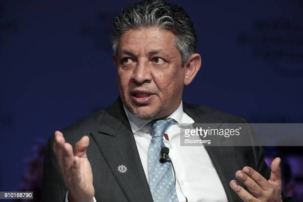 Mohammed Al Tuwaijri Saudi Arabia's economy minister gestures as he speaks during a panel session on day three of the World Economic Forum in Davos...