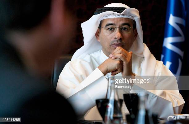 Mohammed Alabbar, chairman of Emaar Properties PJSC, pauses during a Bloomberg via Getty Images Television interview in his office in Dubai, United...