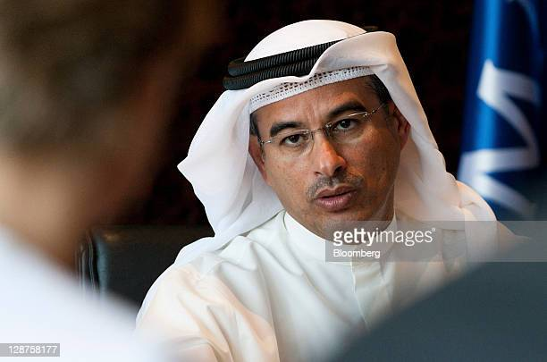 Mohammed Alabbar, chairman of Emaar Properties PJSC, speaks during a Bloomberg via Getty Images Television interview in his office in Dubai, United...