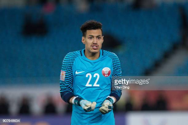 Mohammed Albakari of Qatar in action during the AFC U23 Championship Group A match between Qatar and Uzbekistan at Changzhou Olympic Sports Stadium...